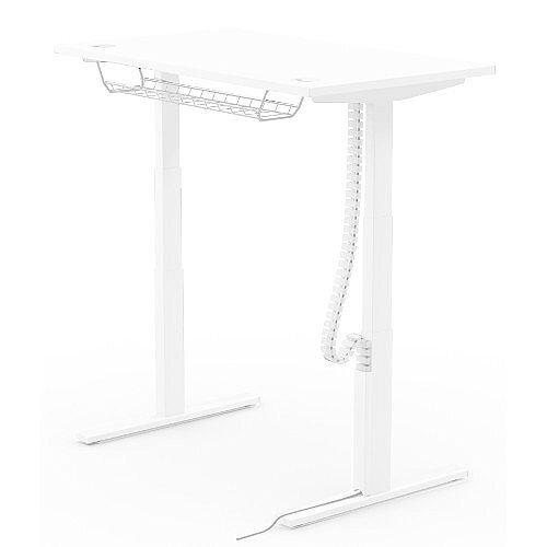 Cable Management Basket 1200mm For 1400, 1600 &1800mm Wide Leap Height Adjustable Desks White