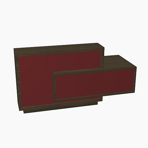 Foro Modern Design Reception Desk With High Gloss Burgundy Front and Chestnut Carcass &Left Low Level Section W2100mmxD800mmxH1100mm