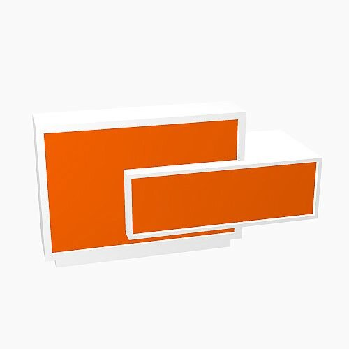 Foro Modern Design Reception Desk With High Gloss Orange Front and White Pastel Carcass & Left Low Level Section  W2100mmxD800mmxH1100mm