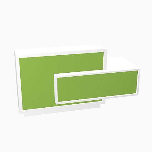 Foro Modern Design Reception Desk With High Gloss Vibrant Green Front and White Pastel Carcass &Left Low Level Section W2100mmxD800mmxH1100mm