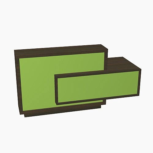 Foro Modern Design Reception Desk With High Gloss Vibrant Green Front and Chestnut Carcass &Left Low Level Section W2100mmxD800mmxH1100mm