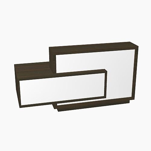 Foro Modern Design Reception Desk With High Gloss White Front and Chestnut Carcass &Right Low Level Section W2100mmxD800mmxH1100mm