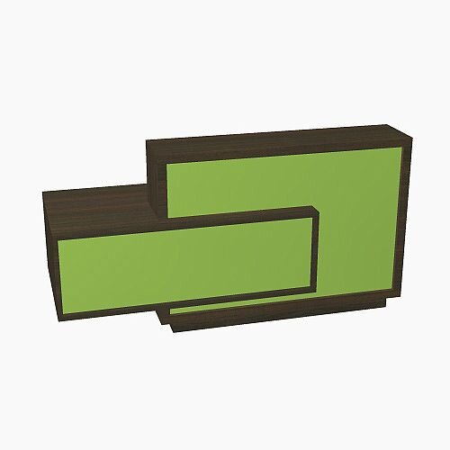 Foro Modern Design Reception Desk With High Gloss Vibrant Green Front and Chestnut Carcass &Right Low Level Section W2100mmxD800mmxH1100mm