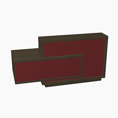Foro Modern Design Reception Desk With High Gloss Burgundy Front and Chestnut Carcass & Right Low Level Section W2100mmxD800mmxH1100mm