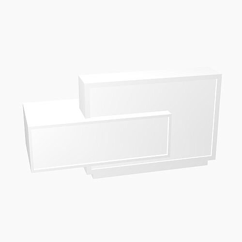 Foro Modern Design Reception Desk With High Gloss White Front and White Pastel Carcass & Right Low Level Section  W2100mmxD800mmxH1100mm