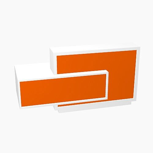 Foro Modern Design Reception Desk With High Gloss Orange Front and White Pastel Carcass &Right Low Level Section W2100mmxD800mmxH1100mm