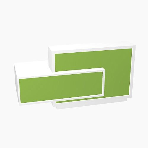 Foro Modern Design Reception Desk With High Gloss Vibrant Green Front and White Pastel Carcass &Right Low Level Section W2100mmxD800mmxH1100mm