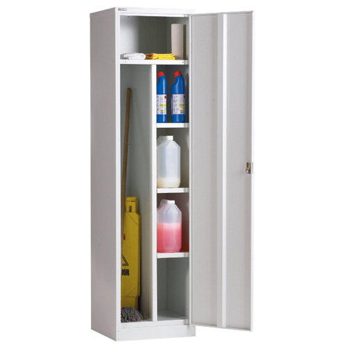 Single Door Janitor Locker with Special Compartments 1778Hx457Wx457D Grey