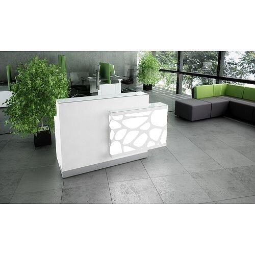 Organic Modern Illuminated White Straight Reception Desk with Left Decorative Element W1700mmxD770mmxH1105mm