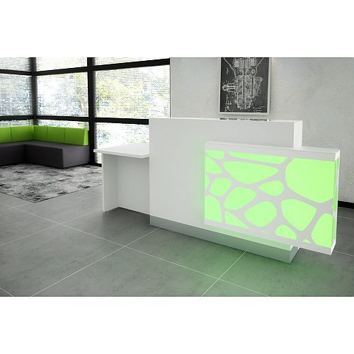 Organic Modern Illuminated White Reception Desk with Left Decorative Element &Right Low Counter Top W2400mmxD770mmxH1105mm