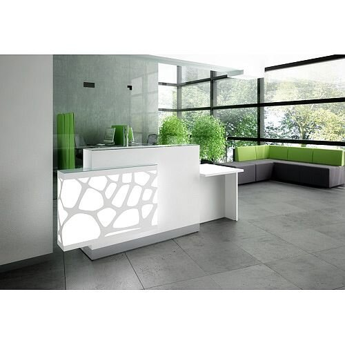 Organic Modern Illuminated Straight White Reception Desk with Right Decorative Element &Left Low Counter Top W2400mmxD770mmxH1105mm