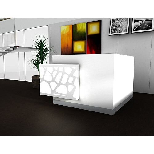 Organic Modern Illuminated White Corner Reception Desk Right Decorative Element W1700mmxD1770mmxH1105mm