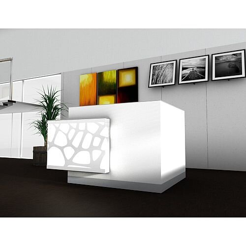 Organic Modern Illuminated White Corner Reception Desk with Right Decorative Element W1700mmxD1370mmxH1105mm