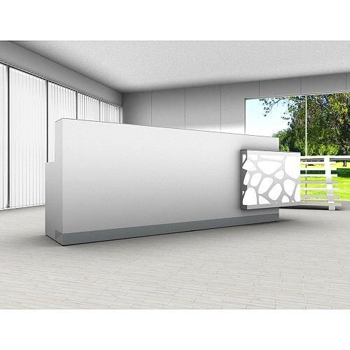 Organic Modern Illuminated White Straight Reception Desk with Left Decorative Element W3100mmxD770mmxH1105mm
