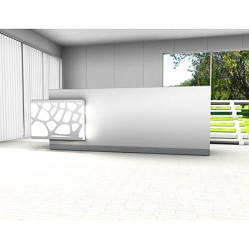 Organic Modern Illuminated White Straight Reception Desk with Right Decorative Element W3100mmxD770mmxH1105mm