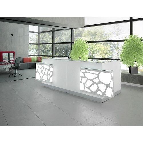 Organic Modern Illuminated Straight White Reception Desk with Decorative Element W3400mmxD1370mmxH1105mm