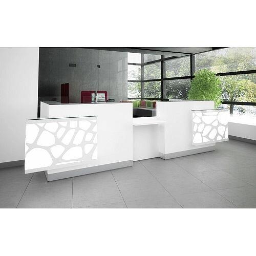 Organic Modern Illuminated Straight White Reception Desk with Decorative Element W4100mmxD1350mmxH1105mm