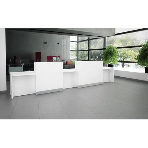 Organic Modern Illuminated Straight White Reception Desk with Decorative Element W4556mmxD770mmxH1105mm