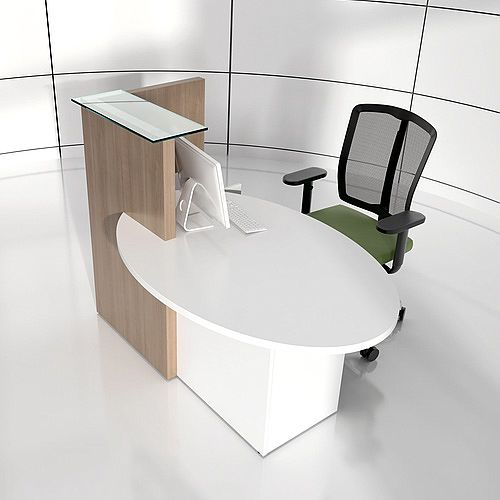 Ovo Small Reception Desk Cocoa with Left White Pastel Low Level Section
