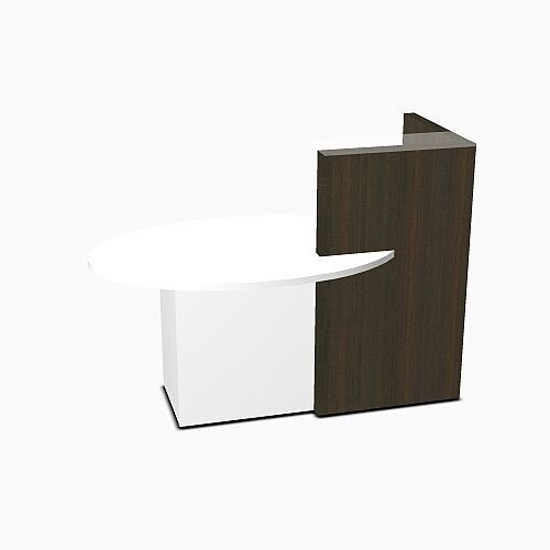 Ovo Small Reception Desk Chestnut with Right White Pastel Low Level Section