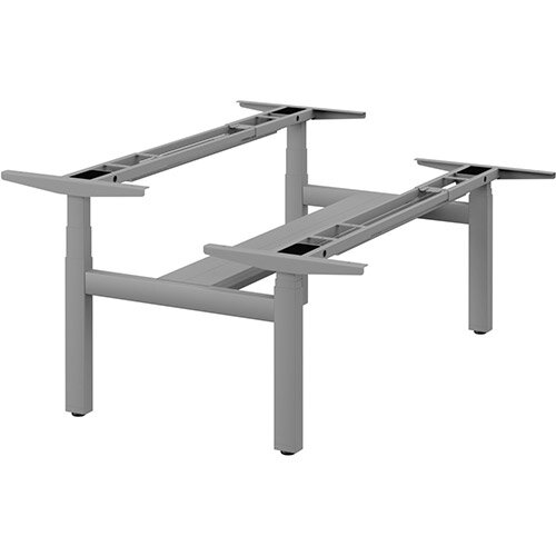 Leap Double Bench 3 Stage Electric Height Adjustable Telescopic Frame Silver - Suitable for desktop width 1200,1400,1600,1800mm