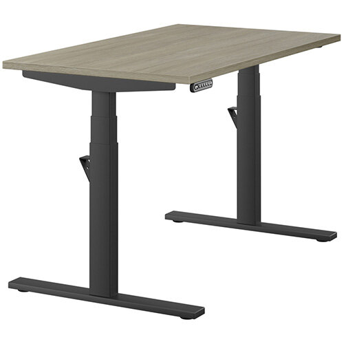 LEAP Electric Height Adjustable Rectangular Sit Stand Desk Plain Top W1200xD700xH620-1270mm Arctic Oak Top Black Frame. Prevents &Reduces Muscle &Back Problems, Heart Risks &Increases Brain Activity.