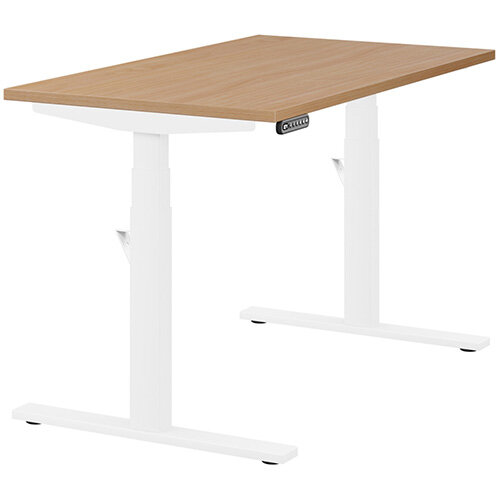LEAP Electric Height Adjustable Rectangular Sit Stand Desk Plain Top W1200xD700xH620-1270mm Beech Top White Frame. Prevents & Reduces Muscle & Back Problems, Heart Risks & Increases Brain Activity.