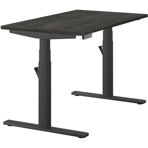 LEAP Electric Height Adjustable Rectangular Sit Stand Desk Plain Top W1200xD700xH620-1270mm Carbon Walnut Top Black Frame. Prevents &Reduces Muscle &Back Problems, Heart Risks &Increases Brain Activity.