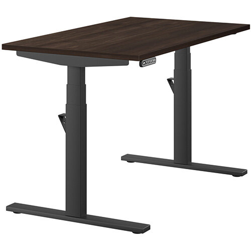 LEAP Electric Height Adjustable Rectangular Sit Stand Desk Plain Top W1200xD700xH620-1270mm Dark Walnut Top Black Frame. Prevents &Reduces Muscle &Back Problems, Heart Risks &Increases Brain Activity.