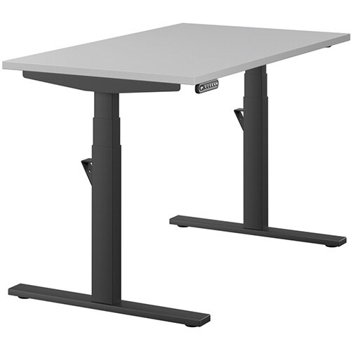 LEAP Electric Height Adjustable Rectangular Sit Stand Desk Plain Top W1200xD700xH620-1270mm Grey Top Black Frame. Prevents &Reduces Muscle &Back Problems, Heart Risks &Increases Brain Activity.