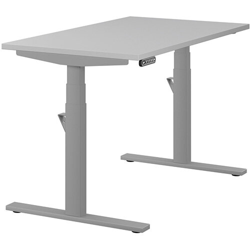 LEAP Electric Height Adjustable Rectangular Sit Stand Desk Plain Top W1200xD700xH620-1270mm Grey Top Silver Frame. Prevents &Reduces Muscle &Back Problems, Heart Risks &Increases Brain Activity.