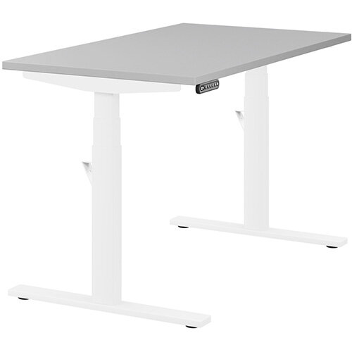 LEAP Electric Height Adjustable Rectangular Sit Stand Desk Plain Top W1200xD700xH620-1270mm Grey Top White Frame. Prevents &Reduces Muscle &Back Problems, Heart Risks &Increases Brain Activity.