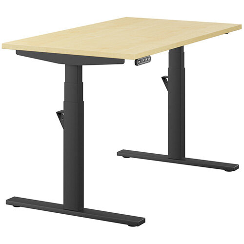 LEAP Electric Height Adjustable Rectangular Sit Stand Desk Plain Top W1200xD700xH620-1270mm Maple Top Black Frame. Prevents &Reduces Muscle &Back Problems, Heart Risks &Increases Brain Activity.