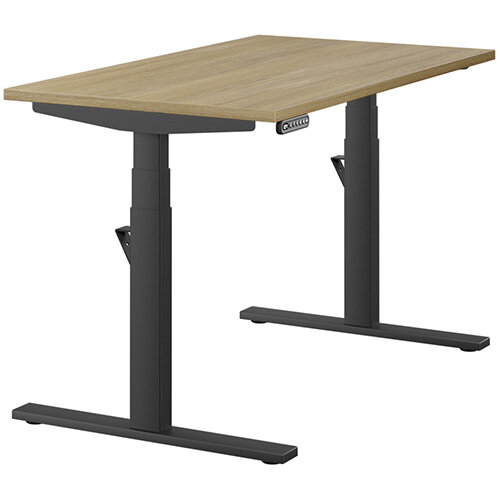 LEAP Electric Height Adjustable Rectangular Sit Stand Desk Plain Top W1200xD700xH620-1270mm Urban Oak Top Black Frame. Prevents &Reduces Muscle &Back Problems, Heart Risks &Increases Brain Activity.
