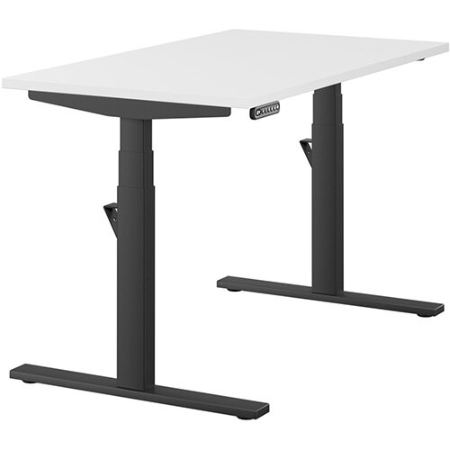 LEAP Electric Height Adjustable Rectangular Sit Stand Desk Plain Top W1200xD700xH620-1270mm White Top Black Frame. Prevents &Reduces Muscle &Back Problems, Heart Risks &Increases Brain Activity.