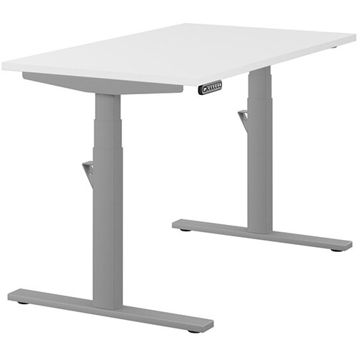 LEAP Electric Height Adjustable Rectangular Sit Stand Desk Plain Top W1200xD700xH620-1270mm White Top Silver Frame. Prevents &Reduces Muscle &Back Problems, Heart Risks &Increases Brain Activity.