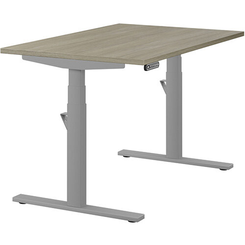 LEAP Electric Height Adjustable Rectangular Sit Stand Desk Plain Top W1200xD800xH620-1270mm Arctic Oak Top Silver Frame. Prevents &Reduces Muscle &Back Problems, Heart Risks &Increases Brain Activity.