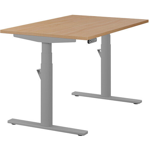 LEAP Electric Height Adjustable Rectangular Sit Stand Desk Plain Top W1200xD800xH620-1270mm Beech Top Silver Frame. Prevents &Reduces Muscle &Back Problems, Heart Risks &Increases Brain Activity.