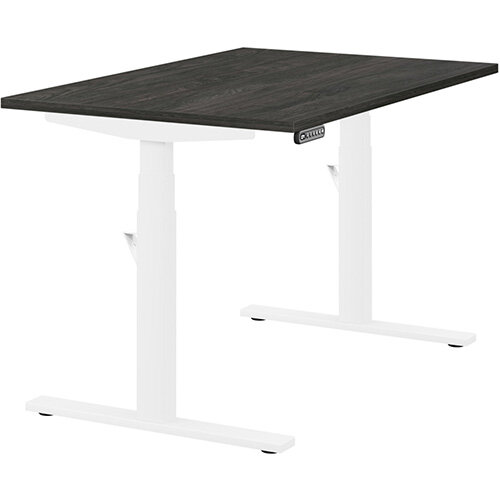 LEAP Electric Height Adjustable Rectangular Sit Stand Desk Plain Top W1200xD800xH620-1270mm Carbon Walnut Top White Frame. Prevents &Reduces Muscle &Back Problems, Heart Risks &Increases Brain Activity.