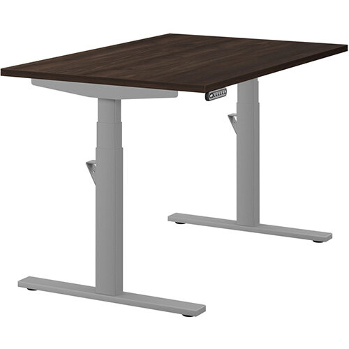 LEAP Electric Height Adjustable Rectangular Sit Stand Desk Plain Top W1200xD800xH620-1270mm Dark Walnut Top Silver Frame. Prevents &Reduces Muscle &Back Problems, Heart Risks &Increases Brain Activity.