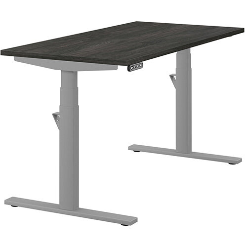 LEAP Electric Height Adjustable Rectangular Sit Stand Desk Plain Top W1400xD700xH620-1270mm Carbon Walnut Top Silver Frame. Prevents &Reduces Muscle &Back Problems, Heart Risks &Increases Brain Activity.