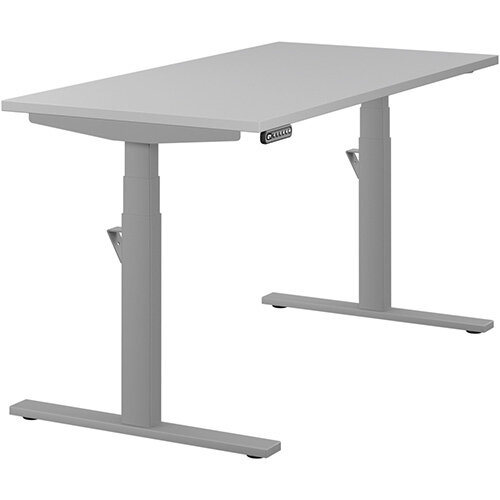 LEAP Electric Height Adjustable Rectangular Sit Stand Desk Plain Top W1400xD700xH620-1270mm Grey Top Silver Frame. Prevents &Reduces Muscle &Back Problems, Heart Risks &Increases Brain Activity.