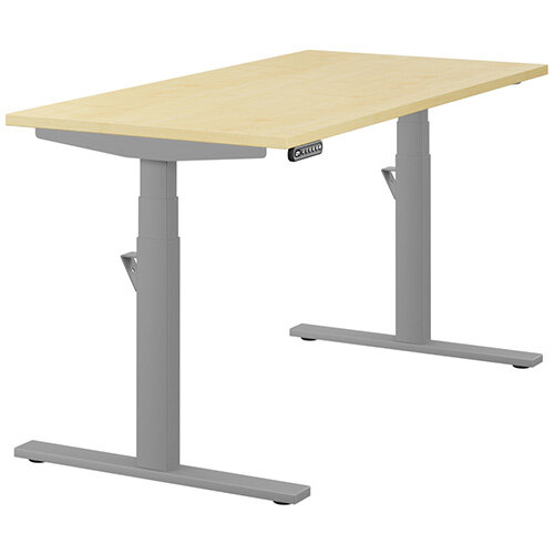 LEAP Electric Height Adjustable Rectangular Sit Stand Desk Plain Top W1400xD700xH620-1270mm Maple Top Silver Frame. Prevents &Reduces Muscle &Back Problems, Heart Risks &Increases Brain Activity.