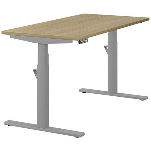 LEAP Electric Height Adjustable Rectangular Sit Stand Desk Plain Top W1400xD700xH620-1270mm Urban Oak Top Silver Frame. Prevents &Reduces Muscle &Back Problems, Heart Risks &Increases Brain Activity.