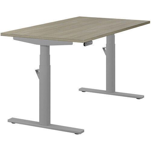 LEAP Electric Height Adjustable Rectangular Sit Stand Desk Plain Top W1400xD800xH620-1270mm Arctic Oak Top Silver Frame. Prevents &Reduces Muscle &Back Problems, Heart Risks &Increases Brain Activity.