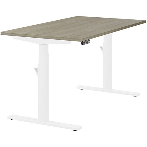 LEAP Electric Height Adjustable Rectangular Sit Stand Desk Plain Top W1400xD800xH620-1270mm Arctic Oak Top White Frame. Prevents & Reduces Muscle & Back Problems, Heart Risks & Increases Brain Activity.