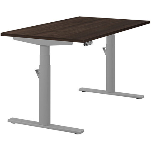 LEAP Electric Height Adjustable Rectangular Sit Stand Desk Plain Top W1400xD800xH620-1270mm Dark Walnut Top Silver Frame. Prevents &Reduces Muscle &Back Problems, Heart Risks &Increases Brain Activity.