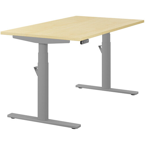 LEAP Electric Height Adjustable Rectangular Sit Stand Desk Plain Top W1400xD800xH620-1270mm Maple Top Silver Frame. Prevents &Reduces Muscle &Back Problems, Heart Risks &Increases Brain Activity.