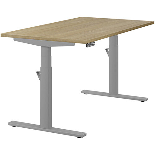 LEAP Electric Height Adjustable Rectangular Sit Stand Desk Plain Top W1400xD800xH620-1270mm Urban Oak Top Silver Frame. Prevents &Reduces Muscle &Back Problems, Heart Risks &Increases Brain Activity.
