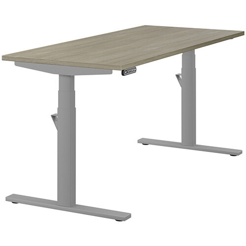LEAP Electric Height Adjustable Rectangular Sit Stand Desk Plain Top W1600xD700xH620-1270mm Arctic Oak Top Silver Frame. Prevents &Reduces Muscle &Back Problems, Heart Risks &Increases Brain Activity.